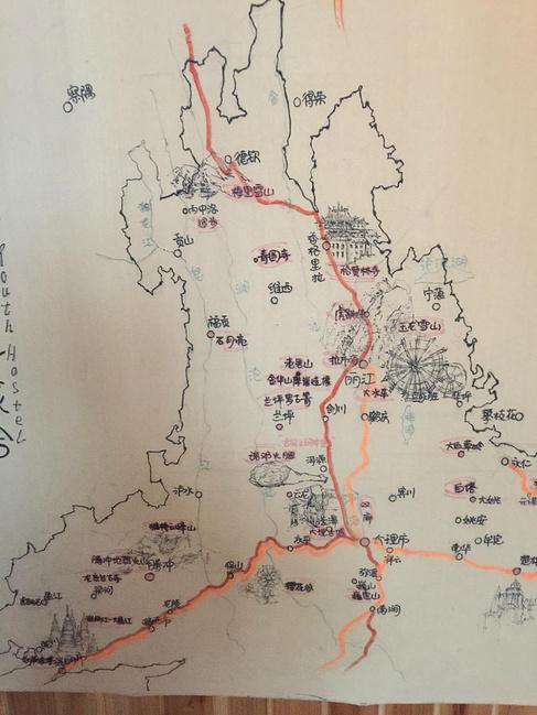 云南旅游手绘地图,青年旅社创意多