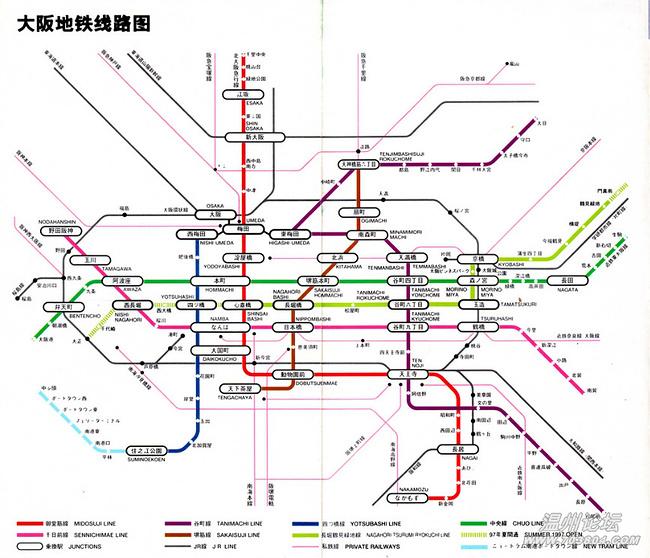 再补充一张在网上找到的大阪地铁路线图-行走在日本图片