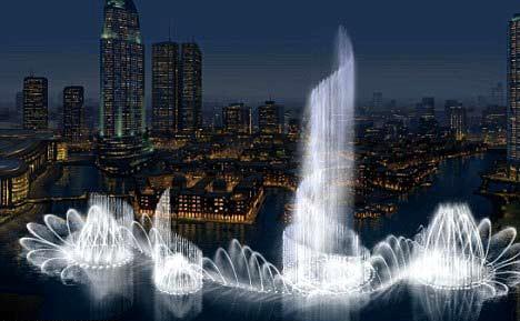 迪拜音乐喷泉位于哈利法塔(迪拜塔)附近