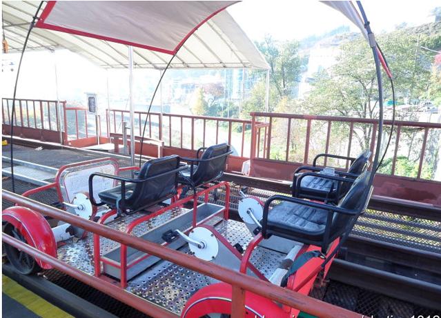 铁路自行车(金裕贞站) 这项体验是春川的名牌,江村铁轨自行车是韩国图片