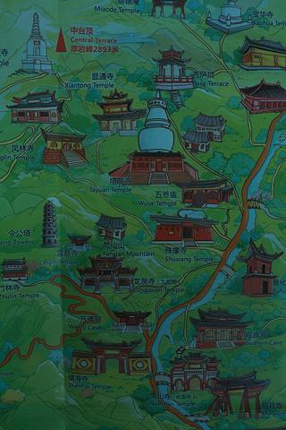 台怀镇主要寺庙手绘图