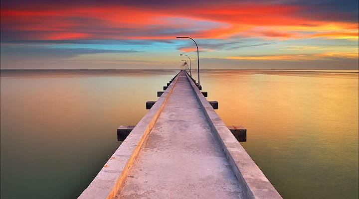码头夕阳旅游图片