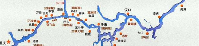 长江三峡旅游线路示意图