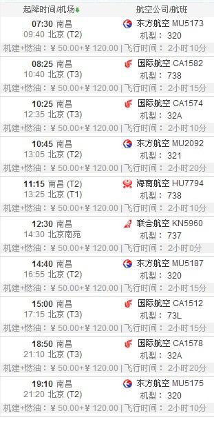 北京与南昌往返飞机参考时刻表