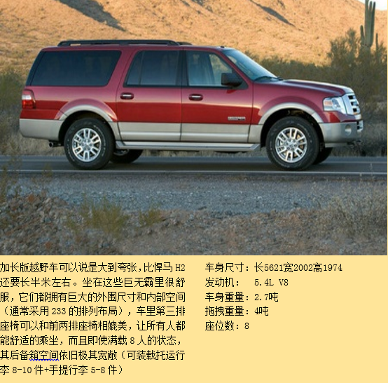 tahoe  ( 3-4 人) 2) 加长版越野车,参考: 福特探索者加长版