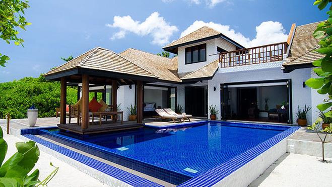 马尔代夫奢华六星神仙珊瑚岛促销(豪华沙滩别墅面积达到500多平方,带