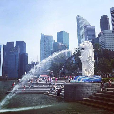 """""""这个鱼尾狮大约有8米多高,免费参观的,游客都喜欢和它拍照,因为它就是新加坡的标志性景点_鱼尾狮公园""""的评论图片"""