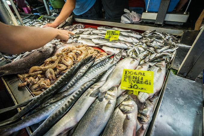讨价还价的鱼市场。图片
