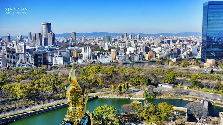 """"""" 大阪城城墙都是由非常巨大的石块拼砌而成,当然不及咱们的长城、故宫的雄伟壮丽,更具古朴简洁。_大阪城公园""""的评论图片"""