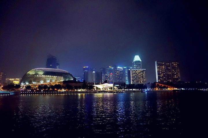 """""""拍个全景作纪念,收藏新加坡最美的夜景。不少人撑起三脚架,摆弄着专业设备,只为将新加坡迷人的夜景定格_鱼尾狮公园""""的评论图片"""