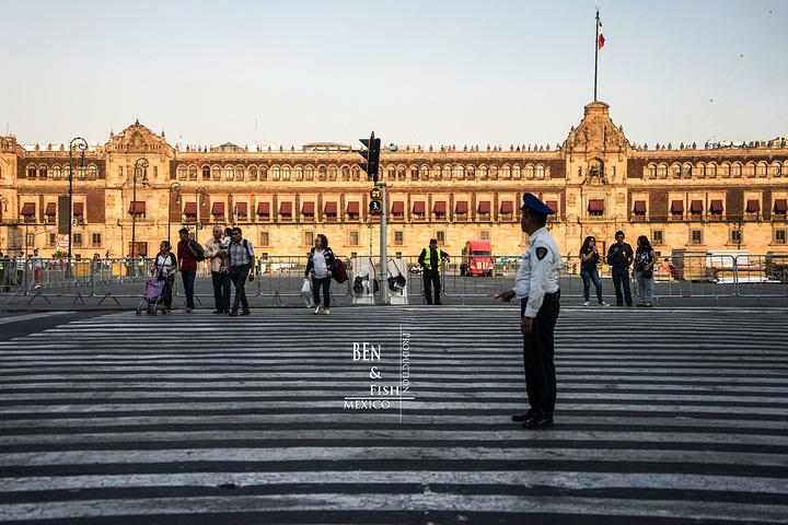 """""""这里应该是总统名义上办公的地方,不过我们去的时候都已经关门了,不能进去参观。国家宫,太长了,照不完_墨西哥城宪法广场""""的评论图片"""