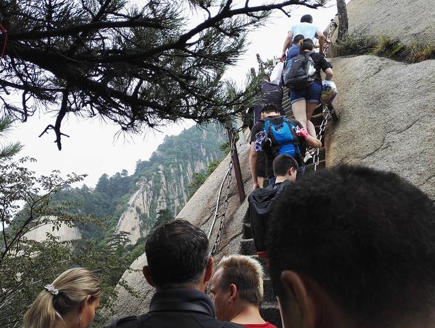 """""""对于膝盖不好的登山者是个挑战。这个最长的栈道远远往去很壮观。全是悬崖绝壁。不过爬完以后特别有成就感_华山""""的评论图片"""
