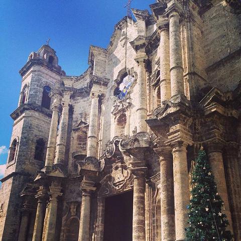 """""""据说这个教堂取材特别,有一些来自海底的珊瑚,几个世纪以来,依然美丽。教堂内部_哈瓦那大教堂""""的评论图片"""