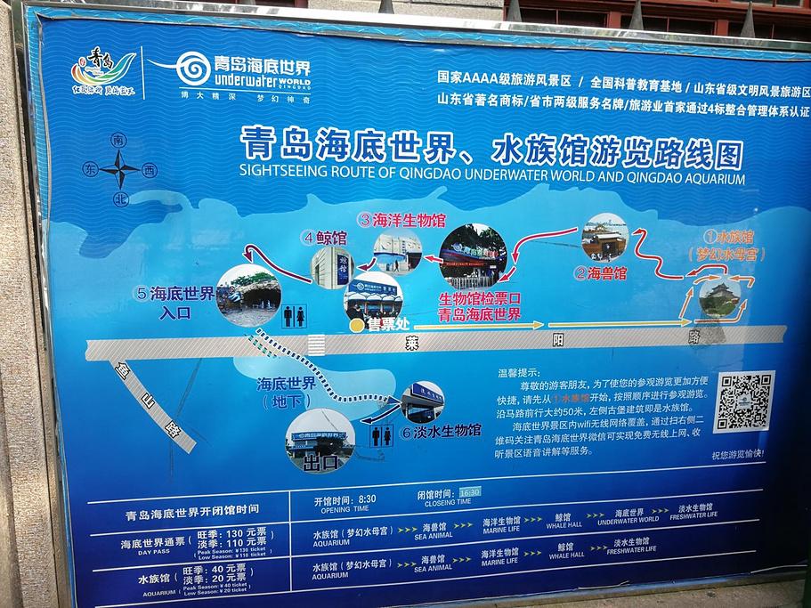 青岛海底世界旅游导图