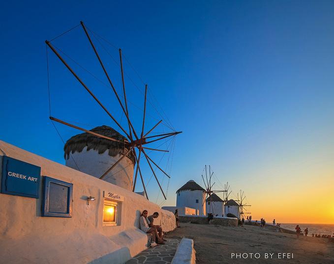 米克诺斯风车图片