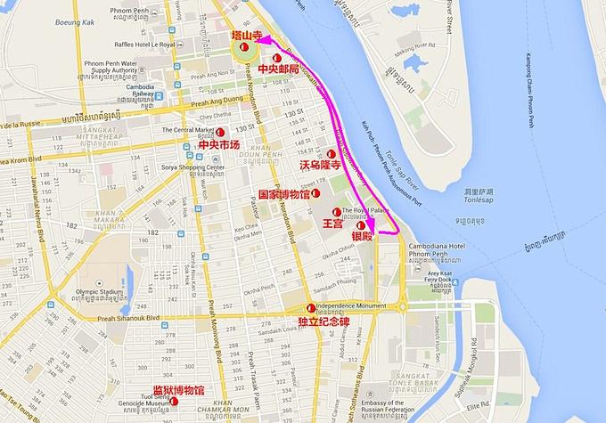 金边市区徒步路线图片