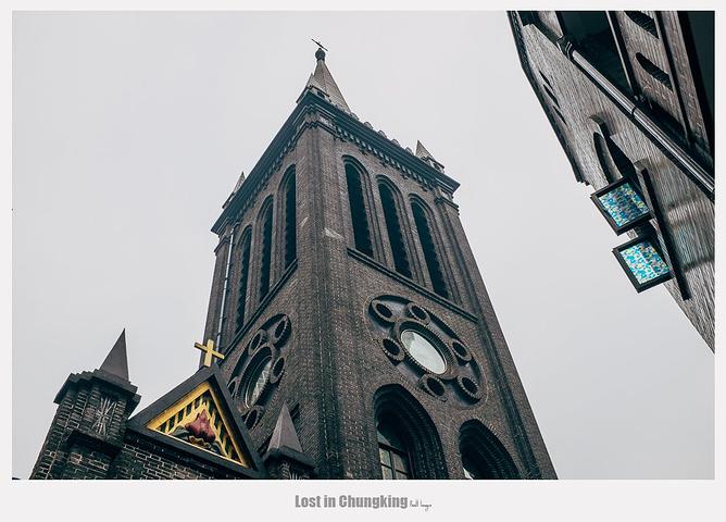 """""""陌生的城市,新鲜的风景总能给人打入了鸡血一般,精力旺盛。不过重庆倒是独特的。繁华的街景总是类似的_天主教若瑟堂""""的评论图片"""