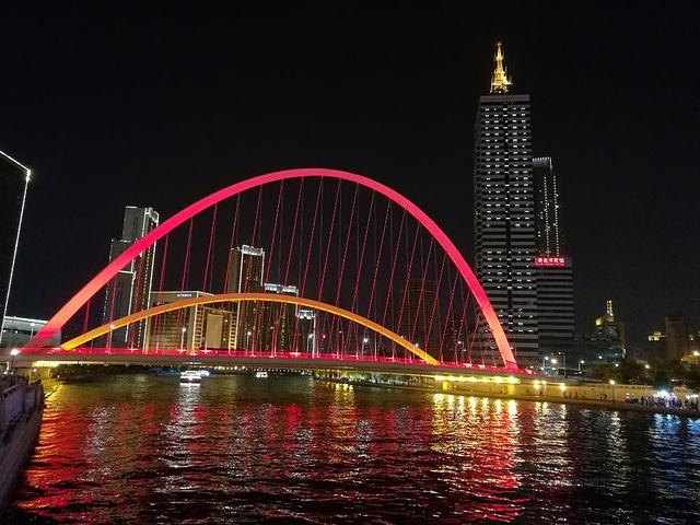 """""""大沽桥位于解放桥和北安桥之间,一般是在逛海河时顺道游览的。大沽桥最美的时候就是傍晚和夜晚。公交车5路_大沽桥""""的评论图片"""