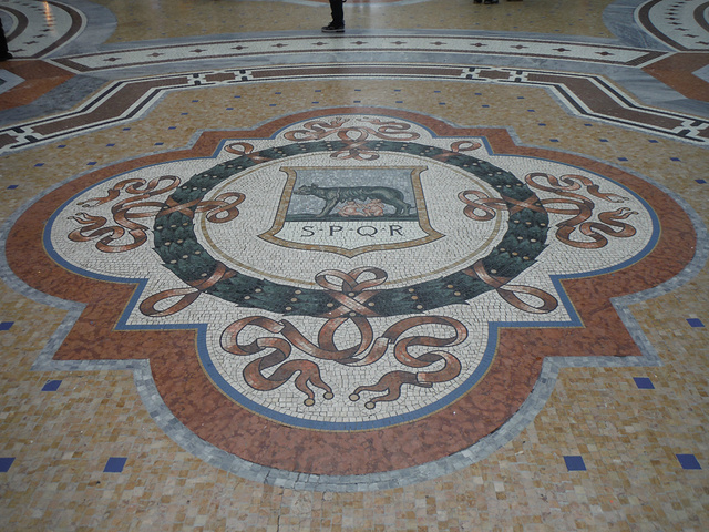 """""""...圆形的石砖地面,马赛克拼接成非常漂亮的花纹图案,打磨得相当平整,正下方的花纹也是拍照最佳的地方_埃马努埃莱二世长廊""""的评论图片"""