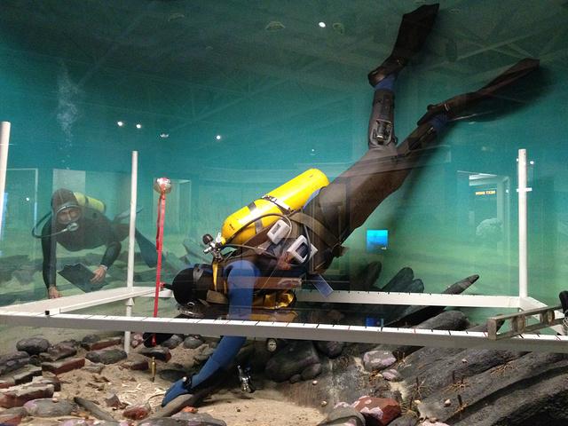 """""""普通的模型看烦了的话,也可以玩玩高新科技的手动潜水员以及航路操控等互动区的模型_大西洋海岸博物馆""""的评论图片"""