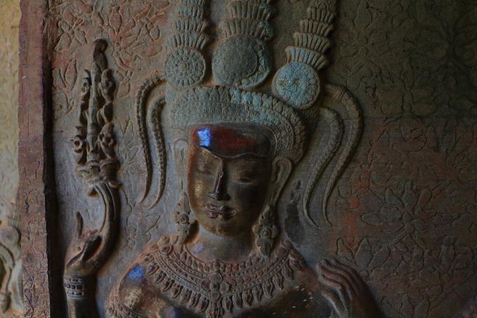 小吴哥的女神浮雕图片