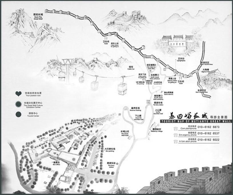 慕田峪长城旅游导图