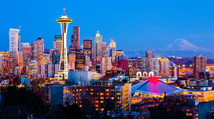 西雅图夜幕旅游图片
