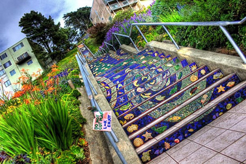 第十六街瓷砖階梯的图片