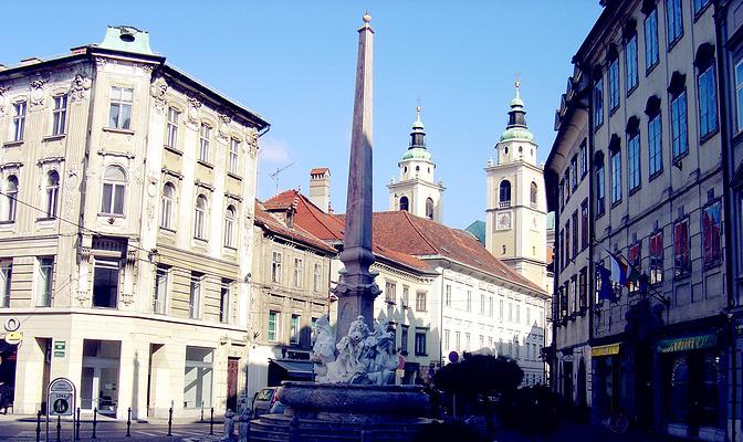 卢布尔雅那城市广场旅游图片