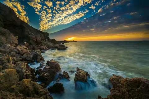 蓬莱阁观日出的图片