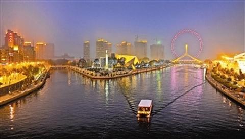 海河外滩公园游船的图片