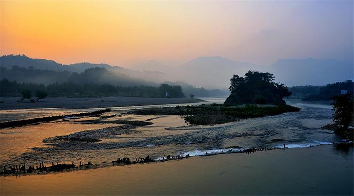 楠溪江日出旅游图片